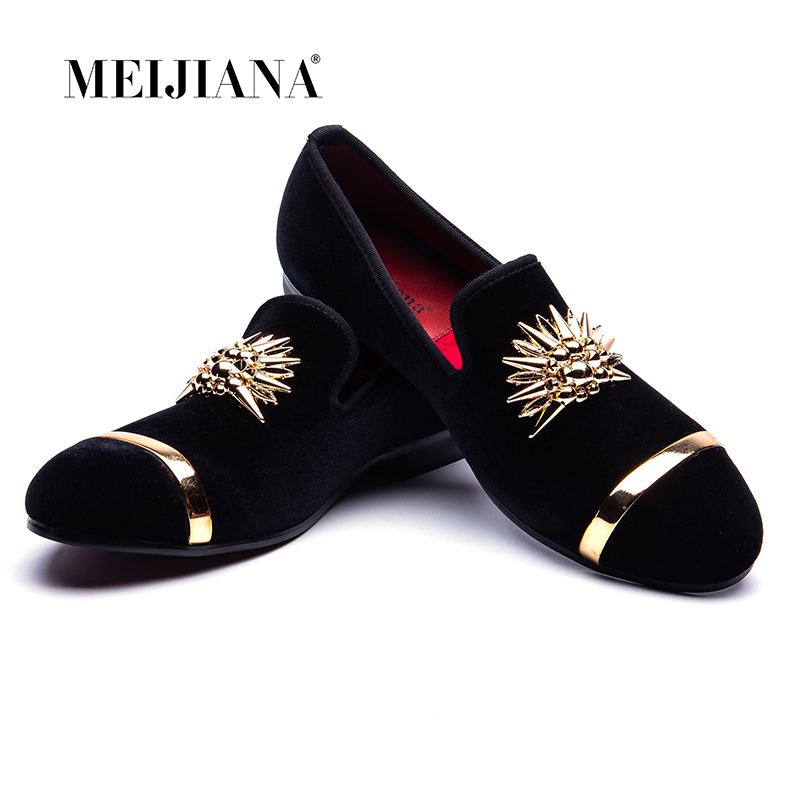 New Fashion Gold Top and Metal Toe Men Velvet Dress shoes italian mens dress shoes Handmade