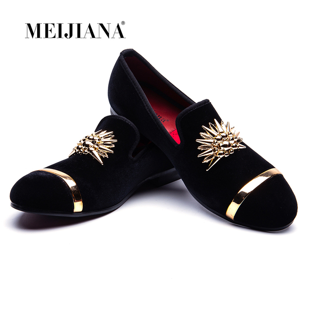 חדש אופנה זהב למעלה ומתכת הבוהן גברים קטיפה שמלת נעלי איטלקי mens שמלת נעלי נעליים בעבודת יד
