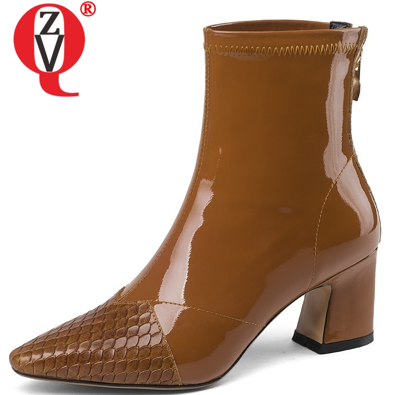 ZVQ newest hot sale high quality patent leather pointed toe high square heel zipper women shoes outside fashion sexy ankle bootsZVQ newest hot sale high quality patent leather pointed toe high square heel zipper women shoes outside fashion sexy ankle boots