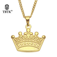 TBTK Gold Crown Pendants Necklace Stainless Steel Punk Hiphop Jewelry Simple Style Trendy Fashion Gift Wholesales Unisex Jewelry(China)
