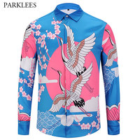 Brand Men S Floral Crane Design Print Shirt Chemise Homme 2018 Fashion Luxury Slim Fit Long