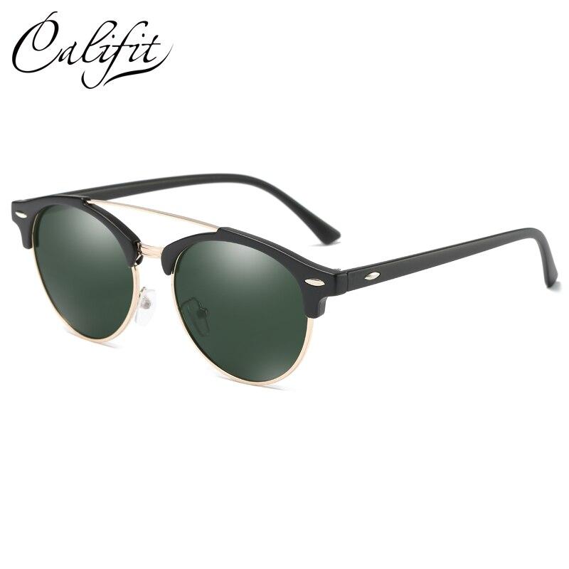 7e69ba38e CALIFIT Retro Round Black Mirror Sunglasses Women Polarized High Quality  Classic Double Bridge Sunglasses Men Rivet Oculos Male-in Sunglasses from  Apparel ...