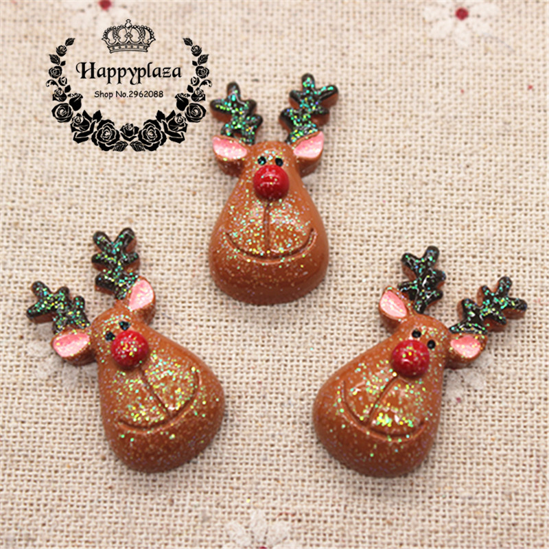 10 шт. Смола Flatback кабошон Блеск Рождество оленей миниатюрный Книги по искусству украшения питания очарование ремесло, 17*31 мм