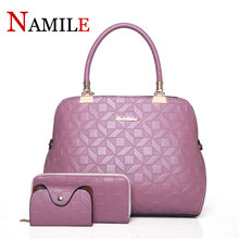 купить High Quality PU Leather Women Bag Set 3 Pieces Top-Handle Bags Office Work Fashion Shoulder Bag And Wallet Set Mother Gifts по цене 3582.22 рублей