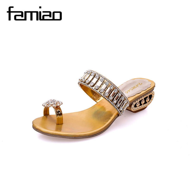 FAMIAO 2017 Women Summer Sandals Blingbling Crystal Platform Wedges Shoes Woman Golden Sliver Slip On Flip Flops Wedding Shoes phyanic 2017 gladiator sandals gold silver shoes woman summer platform wedges glitters creepers casual women shoes phy3323