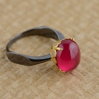 Red Corundum Ring S925 Silver Inlaid Gold Plating Process For Female Simple High End Jewelry Styles
