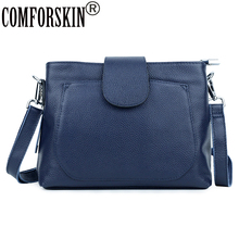 COFORSKIN Brand Guaranteed 100% Genuine Leather European and American Womens Bag Design Cover Style Ladies Messenger