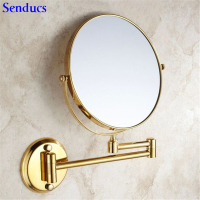 Senducs Gold Bathroom Mirror 8 Inch Brass Bath Mirror Of 3x Magnifying Mirror For Fashion Folding Bathrrom Mirrors