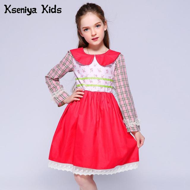 Kseniya Kids Girl Dress 2018 Spring Summer Girls Wedding Dress Peter Pan Collar Floral Plaid Solid Patchwork Girl Party Dress