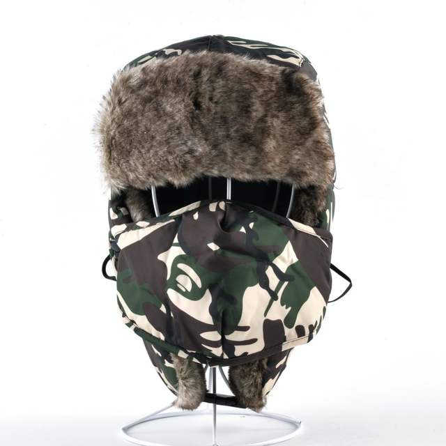 998fe2b8c Winter Camo Bomber Hats For Men And Women Camouflage cap Trapper Thick Faux  Fur Leifeng Hat With Earmuffs And Face Mask