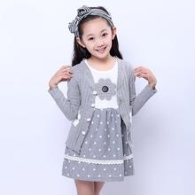 Девочки весна дети в костюмы хлопок кардиган dot принцесса платье vestidos девочка платье