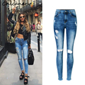 Chicanary Wedgie Icon Raw Hem High Rise Knee Distressed Skinny Jeans Women Denim Ripped Holes Pants