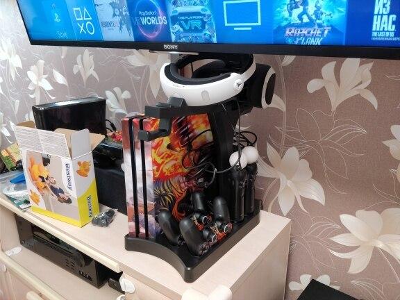 PSVR PS4 Pro Slim carga de soporte de exhibición escaparate para PS4 VR Playstation 4 soporte Vertical ventilador refrigerador cargador de controlador HUB - 6