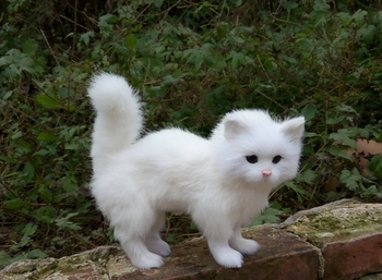 23x9x20CM simulation white standing cat model, polyethylene&furs handicraft Figurines home decoration toy gift a2747