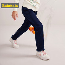 Balabala Girl Fleece-Lined Pull-on Jeans with Raw-edge Hem Slim Fit Jeans in Washed Denim with Side Pocket Elasticized Waistband(China)
