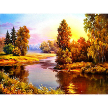 K001 Rhinestone Picture Mosaic Diamond Needle Arts Craft Supplies painting Cross stitch Sunset River Landscape