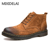 Men Ankle Boots Fashion Spring Autumn Footwear Genuine Leather Mens Shoes Lace Up Casual New Short
