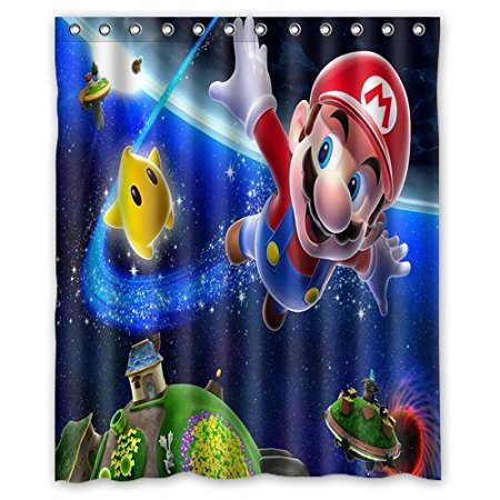 Bathroom Shower Curtains Super Mario Galaxy 180x180cm Eco Friendly Waterproof Fabric Curtain In From Home Garden On Aliexpress
