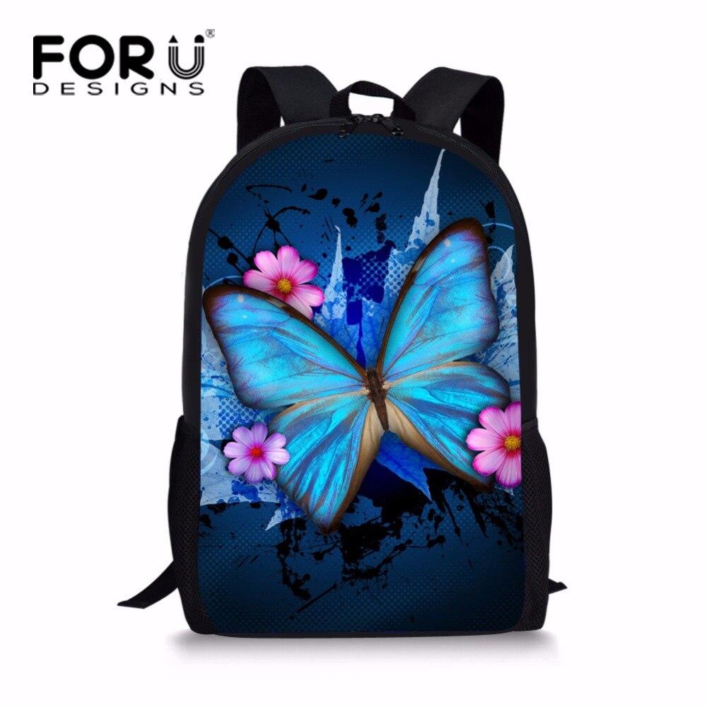 FORUDESIGNS Pretty Teenager Girls Butterfly Backpack Unique Junior Kids Bagpack Elementary Children Bookbag Rucksack Mochila