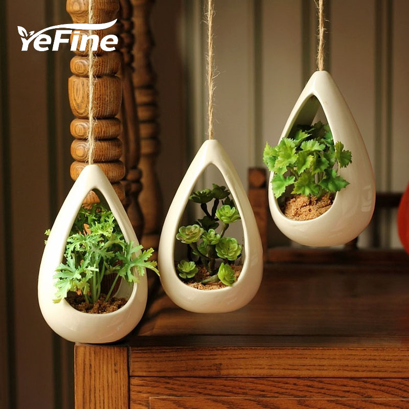 YeFine Ceramic Hanging Pots Creative Decorative Bonsai Pots Hanging Flower Pots With Artificial Plants Home And Office Decor