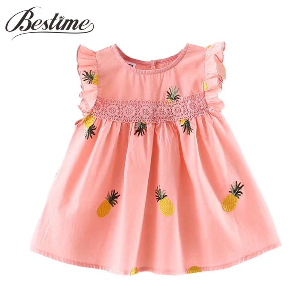 цена на Baby Girls Clothes 2018 Autumn Long Sleeve Baby Dress Pineapple Infant Dress Toddler Cotton Lace Ruffles Kids Dresses for Girls