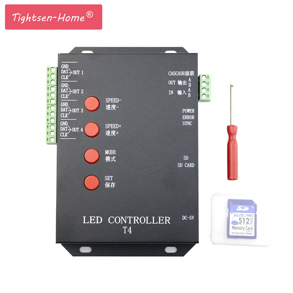 4000 Pixels T4 T-4000 SD Card Pixel Controller For WS2801 WS2812B WS2811 LPD8806 RGB LED Strip Lamp Program Controller DC5V-12V