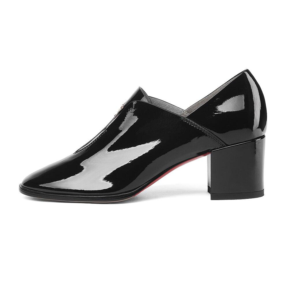 BONJOMARISA elegantes zapatos de charol de mujer de cuero genuino otoño 2019 sólido Ol mujeres ZAPATOS DE TRABAJO mujer tacones altos talla grande 33  43-in Zapatos de tacón de mujer from zapatos    2