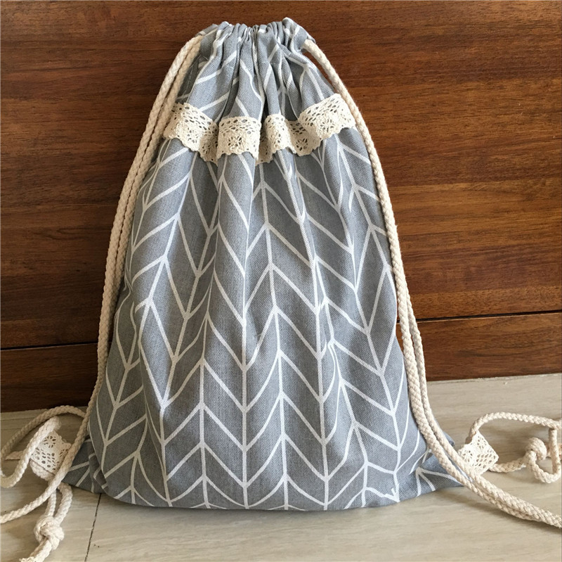 YILE Cotton Linen Drawstring Lace Travel Backpack Student Bag Geometry Grey Base 720a