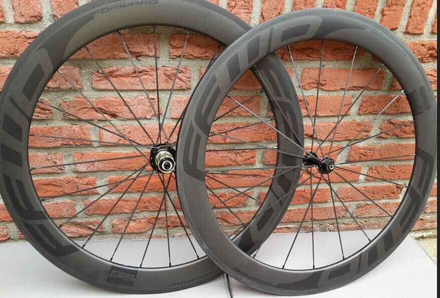 700C 60mm Clincher Tubular Road Bike Carbon Wheels 23mm Width t1000 carbon Bicycle Wheelset 18 color available