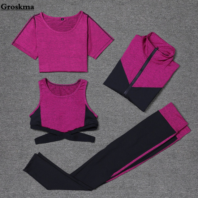 88389837e2e High quality women 4PCS set sexy bra quick dry t shirt leggings patchwork  coat yoga clothing womens fitness gym wear tracksuit-in Yoga Sets from ...