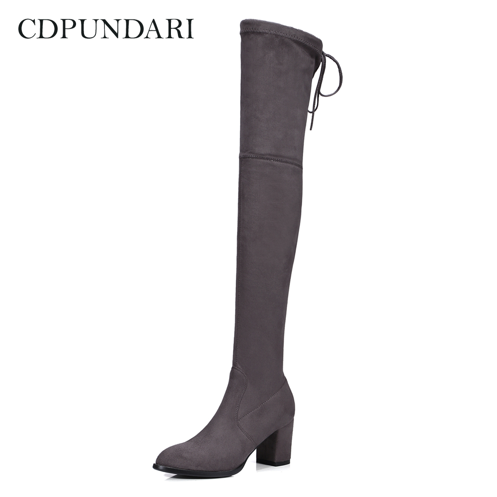 CDPUNDARI High heel lace up over the knee boots women Stretch Fabric thigh high boots Ladies Winter shoes woman women boots low heel knee high boots stretch fabric thigh high over the knee black boot ladies shoes d50