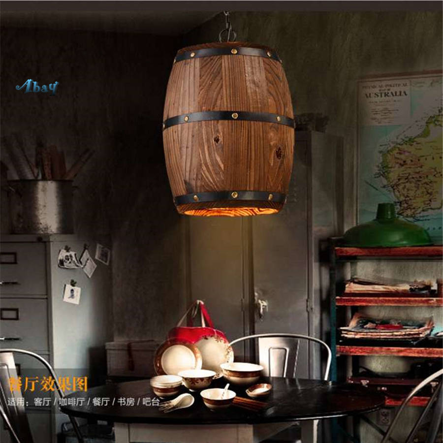 Creative Country Wooden Barrel Pendant Lights for Kitchen Bar Dining Room Tea Shop E27 Lighting Fixtures vintage led hang lampCreative Country Wooden Barrel Pendant Lights for Kitchen Bar Dining Room Tea Shop E27 Lighting Fixtures vintage led hang lamp