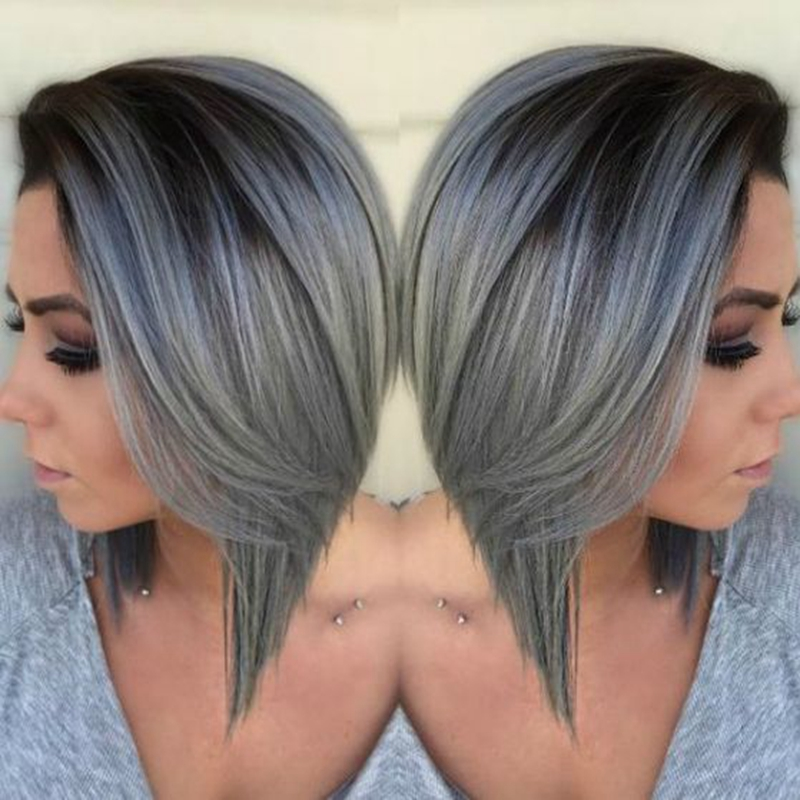 Grey Ombre Wig Bob 1b Gray Synthetic Lace Front Wig High