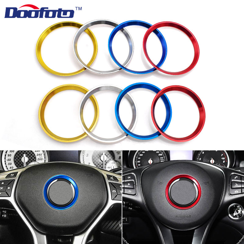 Doofoto Car Steering Wheel Ring Center Decoration Accessories Covers Styling Fit For Mercedes Benz GLE CLA W203 W204 W205 Circle