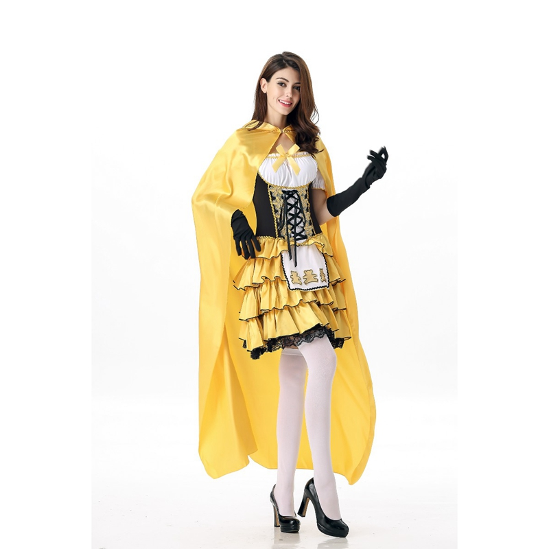 New Arrival Fashion Yellow Fairy Tale Princess Sexy Little Red Riding Hood Fantasia Uniformes Fancy Dress Halloween Costume
