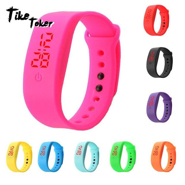 TIke Toker,Candy Color Men's Women's Watch Rubber LED kids Watches Date Bracelet