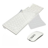 2.4G Wireless Optical Teclado + Mouse Kit Receptor USB com Tampa Do Teclado para PC Branco