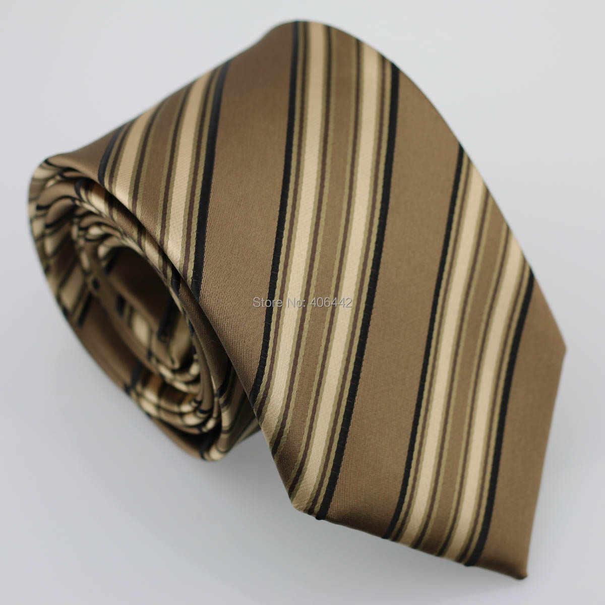 Coachella pria Kopi Dengan Tan Hitam Diagonal Stripes Jacquard Woven Dasi Formal Neck Tie untuk pria berpakaian kemeja pernikahan