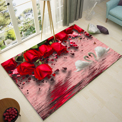 Nordic Green Pastoral Style 6mm 3D Carpet Living Room Flower Mats ...