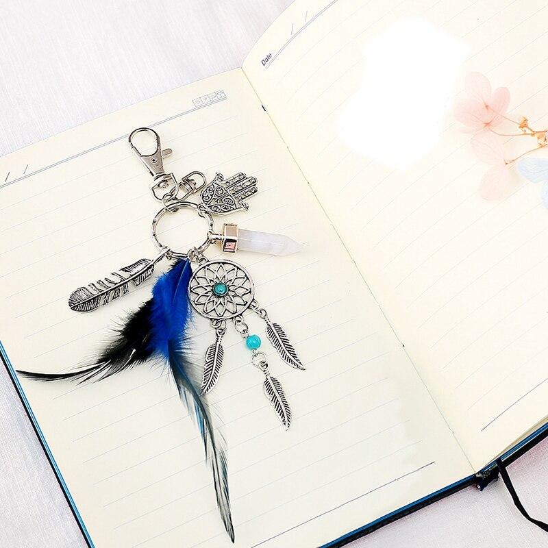Magischer Schlüsselanhänger mit Traumfänger, Federn, Hand der Fatima und Kristall Anhänger Feder 2