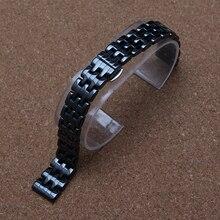 14mm de Alta Calidad bandas venda de reloj pulseras Correa Negro de Las Mujeres de moda correa de reloj De Cerámica de diamante horas moda hebilla de acero