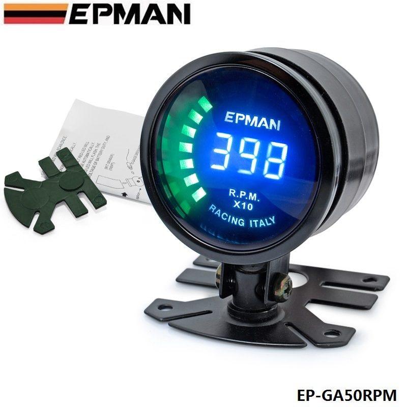 "EPMAN -New Racing 2"" 52mm Smoked Digital Color Analog RPM Tacho Tachometer Gauge Meter with bracket For BMW E39 EP-GA50RPM"