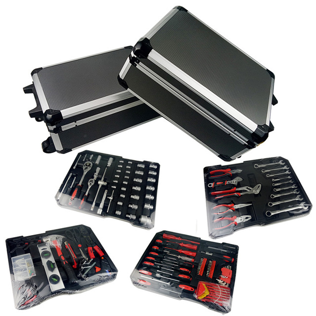 Free shipping 186pcs /set CR-v steel car fix tool household tool set hand tool sets in aluminium alloy draw-bar box 1
