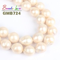 14mm Natural White Baroque Freshwater Pearl Round Beads for Jewelry Making Loose Spacer Bead Diy Necklace Bracelet Jewellery 15'