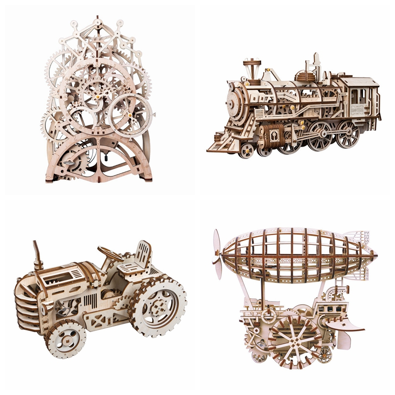 Robotime 6 Kinds DIY Gear Drive Wooden Mechanical Model Building Kits Assembly Toy Gift for Children Teens Adult LGLK