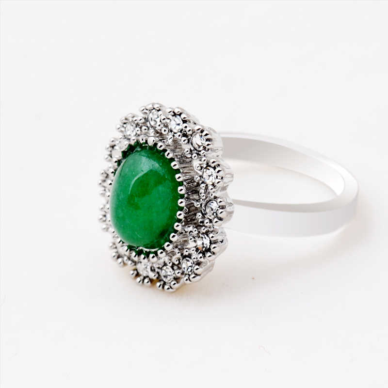 Natural Green Jade Stone Ring Set Honeycomb Crystal Interface Gemstone in Antique Silver 7/8/9 Pick Size for Women Party Jewelry