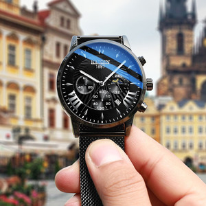 Image 4 - Herren Uhren Top Brand Luxus HAIQIN Militärische Wasserdichte Uhr Männer Business Quarz Chronograph Mesh Stahl Uhr Relogio Masculin