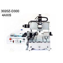 4 axis mini cnc router 3020 300w spindle woodworking lathe machine Ball screw for PVC Acrylic Plastic Wood