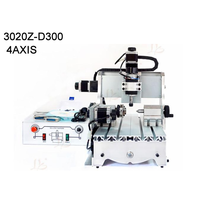 4 axis mini cnc router 3020 300w spindle woodworking lathe machine Ball screw for PVC Acrylic Plastic Wood 500w mini cnc router usb port 4 axis cnc engraving machine with ball screw for wood metal
