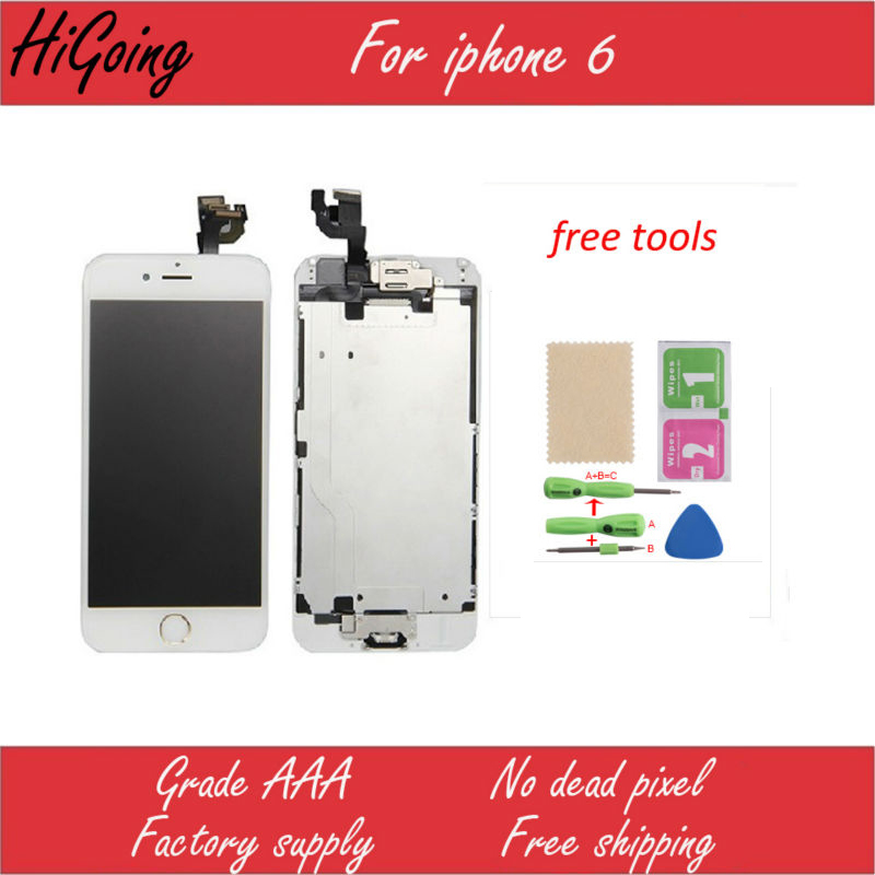 ФОТО Retail Full LCD Screen Display For iPhone 6 4.7inch Touch Screen Digitizer+Home button+camera +ear speaker+LCD Metal Back Plate